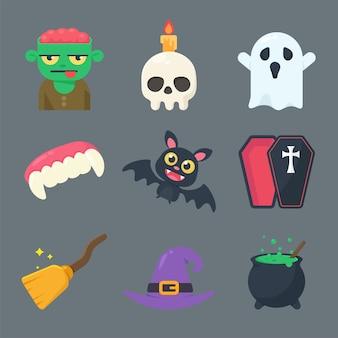 Collection de fantômes et d'objets pour halloween. séparez les éléments de l'arrière-plan