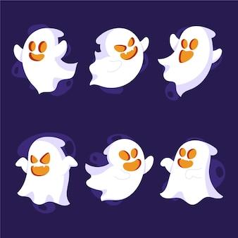Collection de fantômes plats dessinés à la main