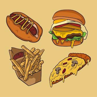 Collection de fast-food dessinés à la main