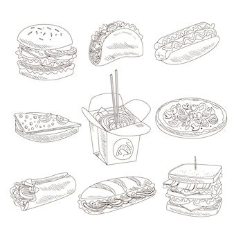 Collection de fast-food doodle