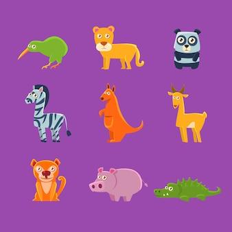 Collection de faune d'animaux exotiques