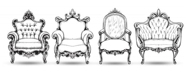 Collection de fauteuils baroques