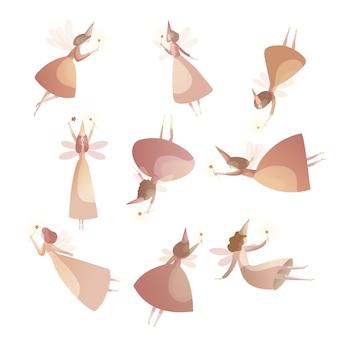 Collection de fées fabuleuses en casquette magique.