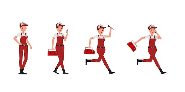 Collection de femme plombier travaillant