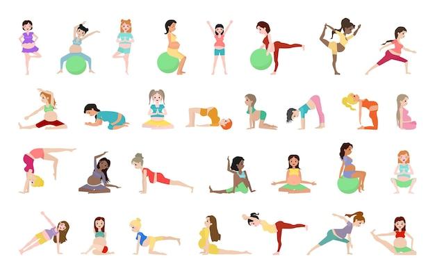 Collection de femmes enceintes faisant du yoga et de l'aérobic.