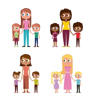 Collection de femmes et d'enfants heureux ensemble