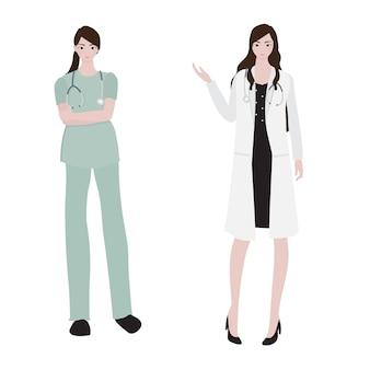 Collection de femmes médecin style plat
