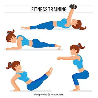 Collection de femmes qui font d'étirement et d'autres exercices