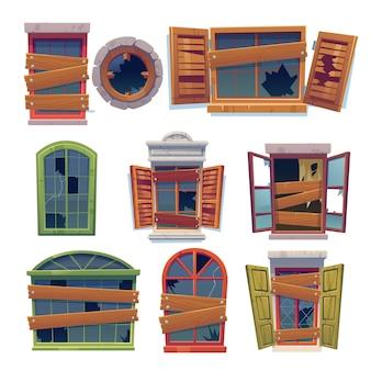 Collection de fenêtres en bois cassées de dessin animé