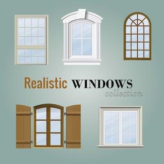 Collection de fenêtres réaliste