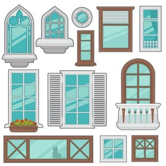 Collection de fenêtres de vecteur de différents types.