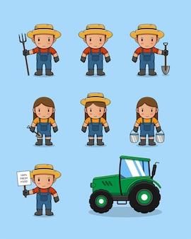 Collection de fermier avec tracteur