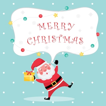La collection festive de noël et du nouvel an comprend une carte de voeux bleu clair avec un texte de joyeux noël, le père noël et une boîte-cadeau