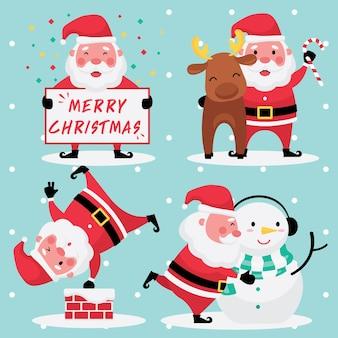 Collection festive de noël et du nouvel an ensemble d'images du père noël avec renne et bonhomme de neige sur fond bleu clair