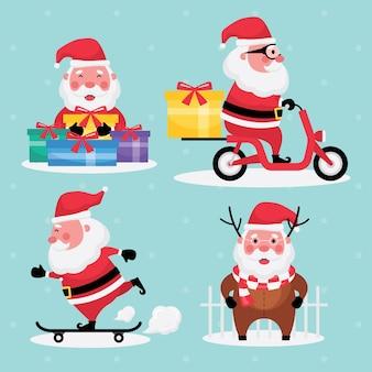 La collection festive de noël et du nouvel an présente un ensemble d'images du père noël avec un cadeau, une moto et une planche à roulettes sur un fond bleu clair