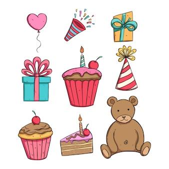 Collection de fête d'anniversaire avec style coloré dessinés à la main