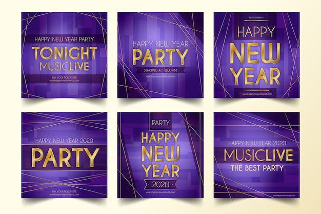 Collection de la fête du nouvel an 2020 instagram post