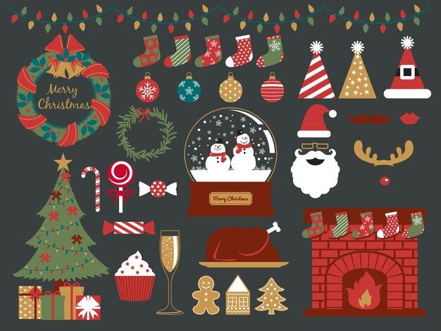 Collection de fête de noël, joyeuses fêtes