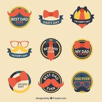 Collection de la fête des pères étiquettes avec des détails jaunes