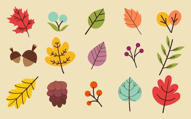 La collection de feuilles d'automne ou d'automne dans l'ensemble de fond jaune.