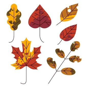 Collection de feuilles d'automne design plat