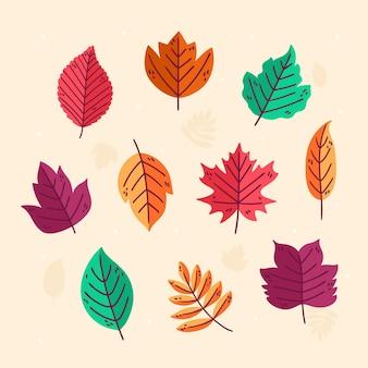 Collection de feuilles d'automne de dessin animé