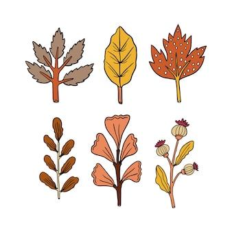 Collection de feuilles d'automne dessinées à la main