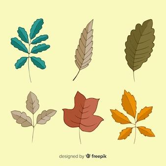 Collection de feuilles d'automne dessinés à la main