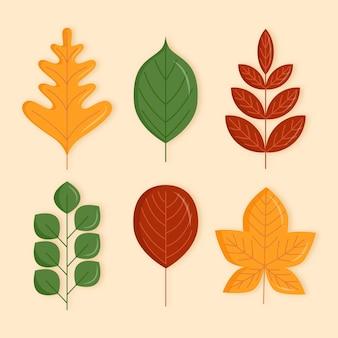 Collection de feuilles d'automne plates