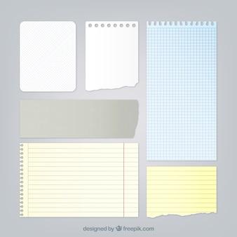 Collection de feuilles de bloc-notes