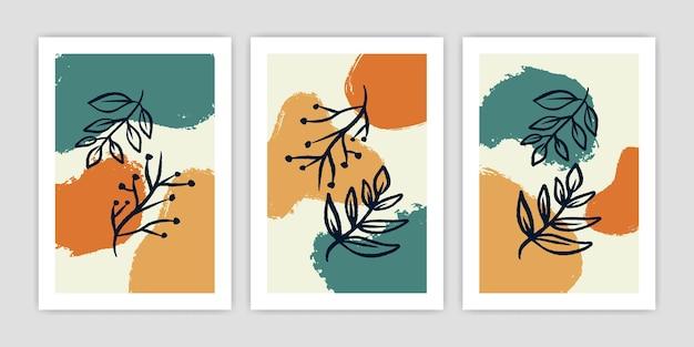 Collection de feuilles de boho abstraites et d'illustrations d'affiches végétales