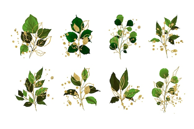 Collection de feuilles de branche de verdure