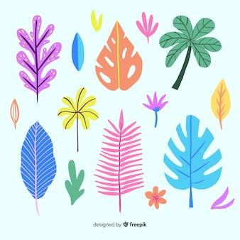 Collection de feuilles colorées tropicales dessinées à la main