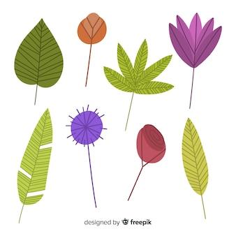 Collection de feuilles et de fleurs colorées dessinées à la main