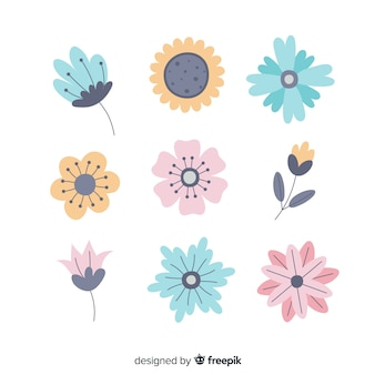 Collection de feuilles et de fleurs