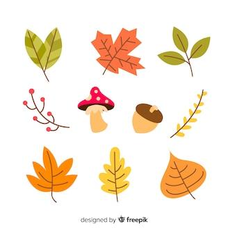 Collection de feuilles de forêt automne dessinés à la main