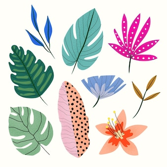 Collection de feuilles tropicales abstraites