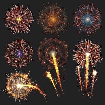 Collection de feux d'artifice festifs de différentes couleurs disposés sur noir