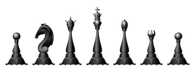 Collection de figures d'échecs isolée sur blanc