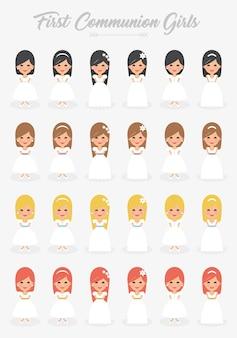 Collection de filles de première communion