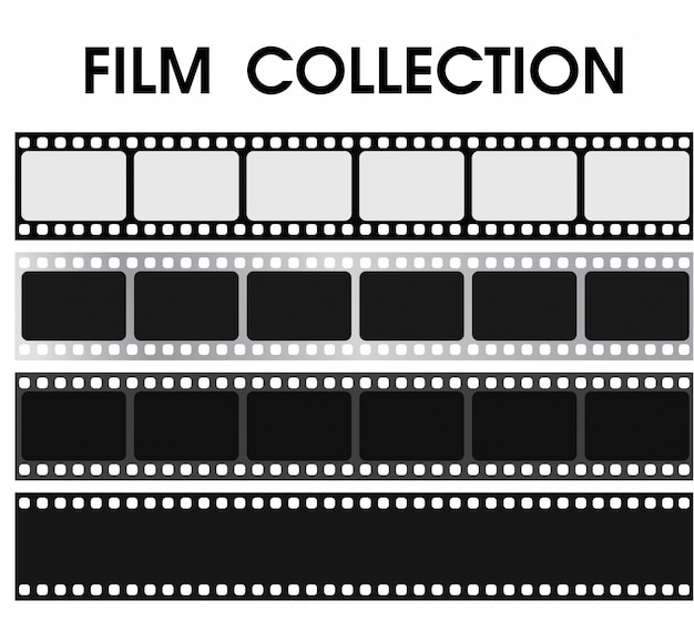 Collection de films noir et blanc rétro de vecteur.