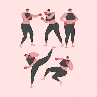 Collection de fitness femme, aérobic et exercices