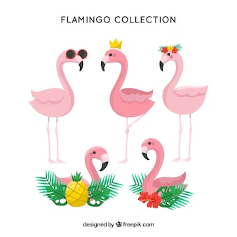 Collection de flamants roses mignons dans un style dessiné à la main