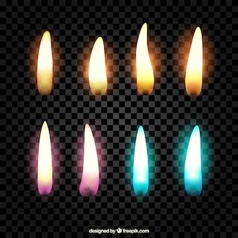 Collection flames de couleurs différentes