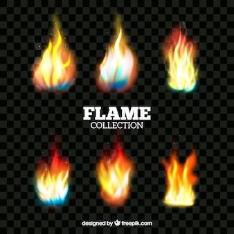 Collection de flamme de feu réaliste