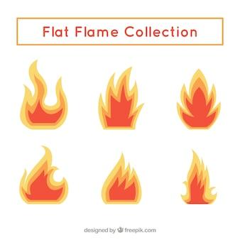 Collection de flammes en design plat