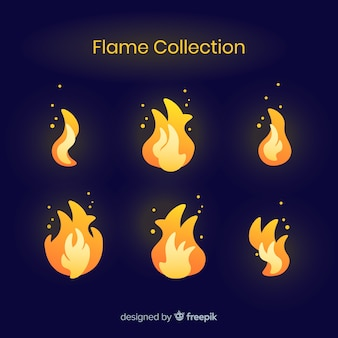 Collection de flammes dessinées à la main
