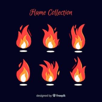 Collection de flammes dessinées à la main
