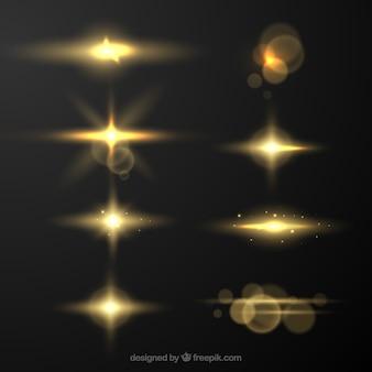 Collection de flare d'objectif doré