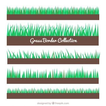Collection flat de cinq frontières d'herbe